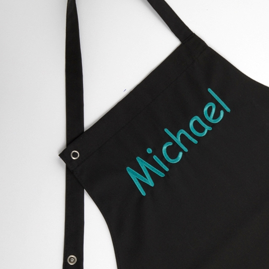 Privatkunden - Stickerei - Latzschürze Michael (schwarz 1)