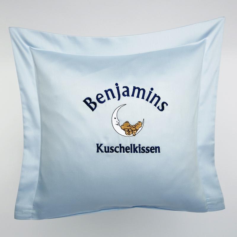 Privatkunden - Stickerei - Kissen Benjamins Kuschelkissen (blau)