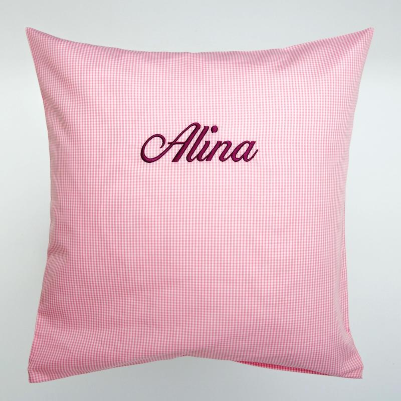 Privatkunden - Stickerei - Kissen Alina (rosa, Vichy-Karo)