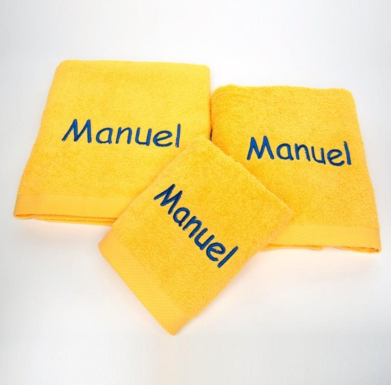 Privatkunden - Stickerei - Handtuch Manuel (gelb)