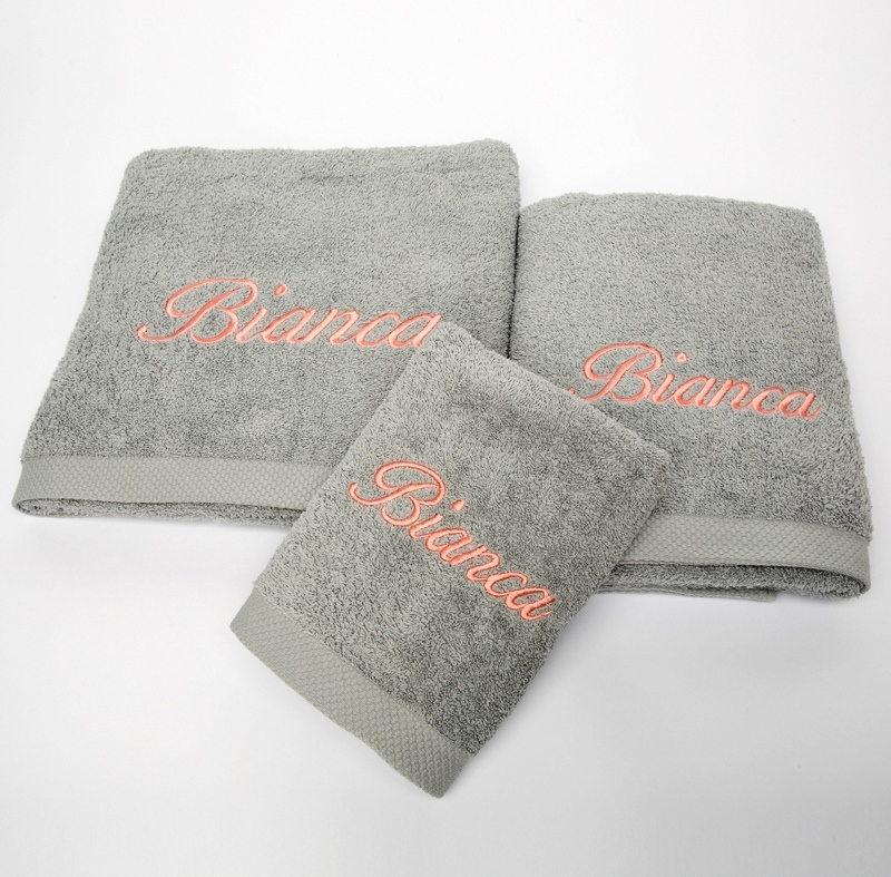 Privatkunden - Stickerei - Handtuch Bianca (grau)