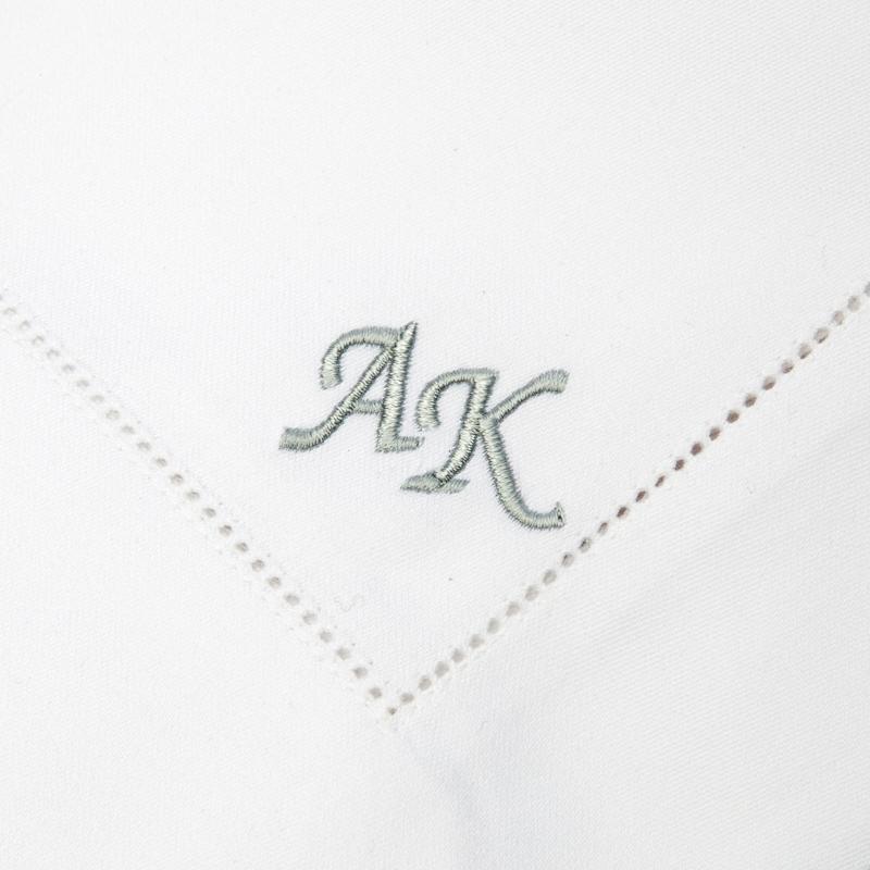 Privatkunden - Stickerei - Serviette AK (weiß, Initialen - Hohlsaum 2)