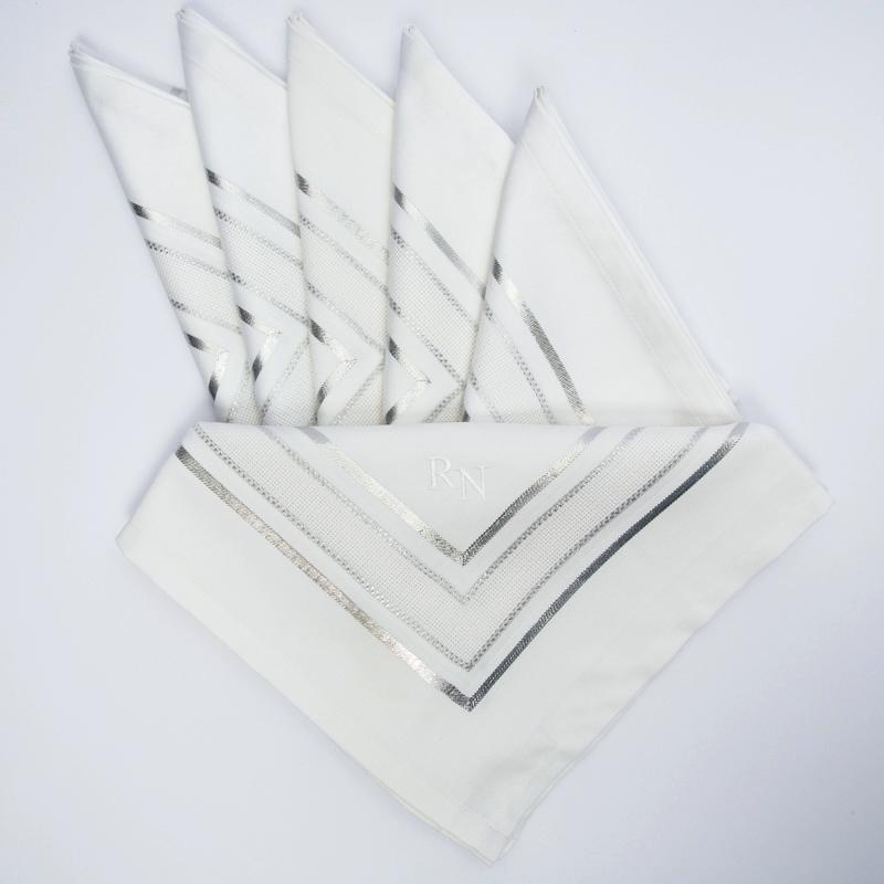Privatkunden - Stickerei - Serviette RN (silber)
