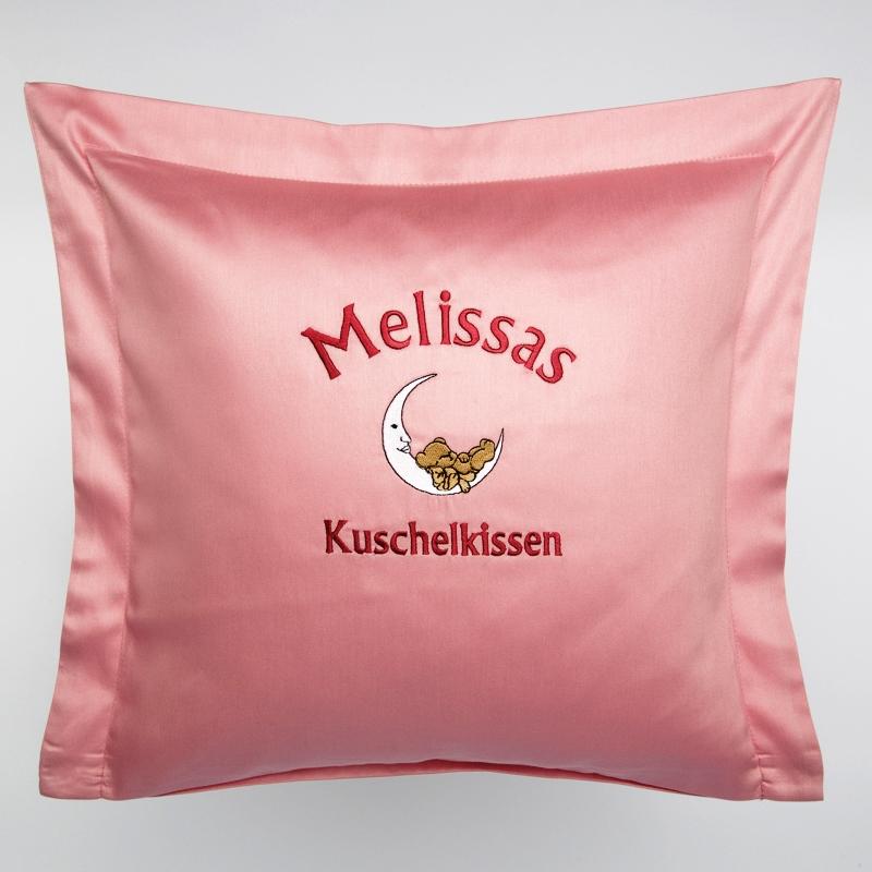 Privatkunden - Stickerei - Kissen Melissas Kuschelkissen (rosa)