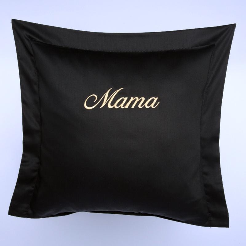 Privatkunden - Stickerei - Kissen Mama (schwarz)