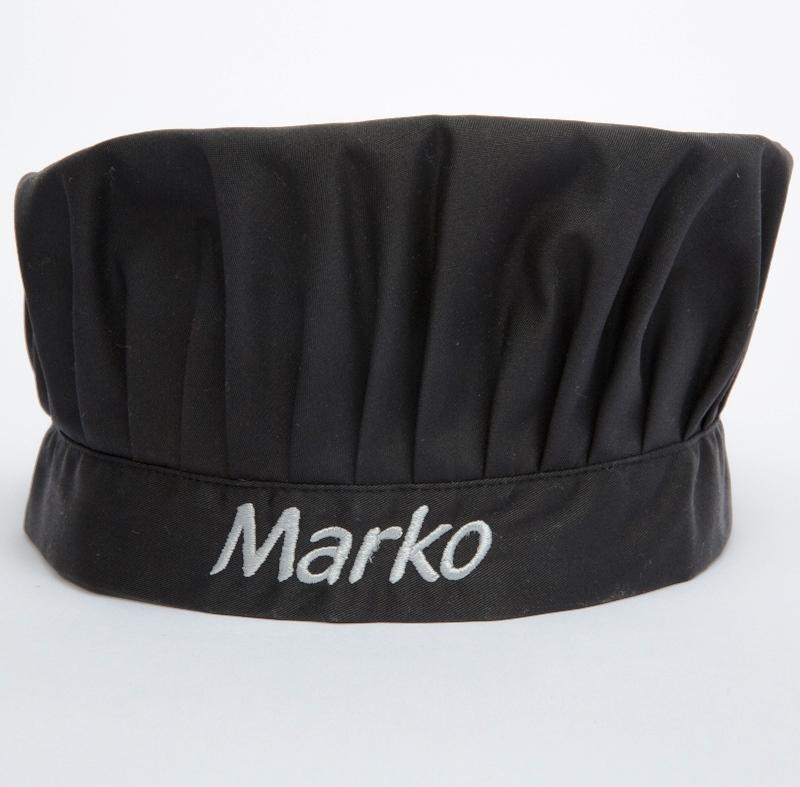 Privatkunden - Stickerei - Kochmütze Marko (schwarz)