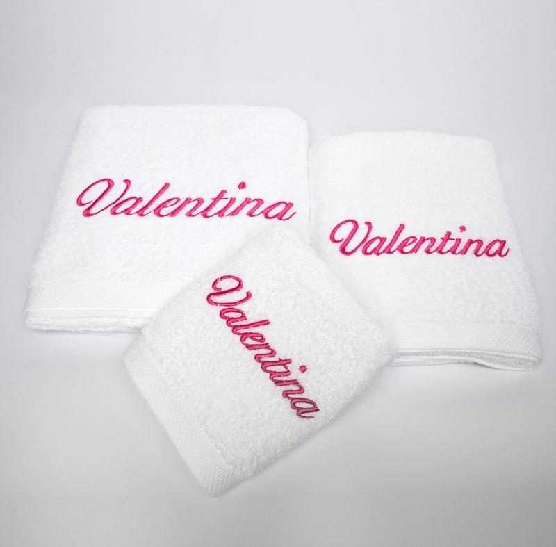 Privatkunden - Stickerei - Handtuch Valentina (weiß)