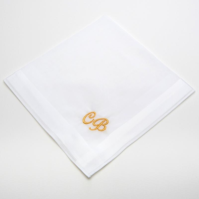 Privatkunden - Stickerei - Taschentuch CB (weiß, Initialen)